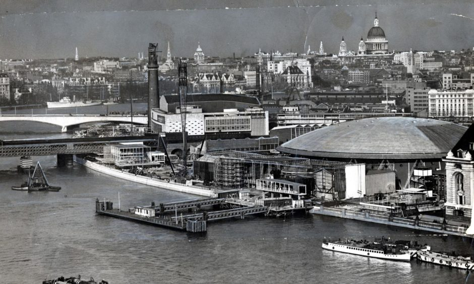 The cigar-shaped Skylon dominated the landscape during the Festival of Britain in 1951.
