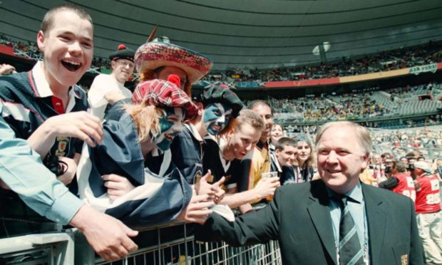 Craig Brown meets Scotland fans before the opening game of the World Cup in 1998