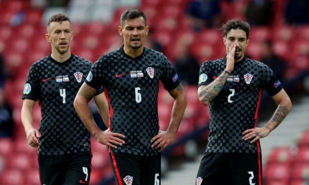 Ivan Perisic, Dejan Lovren and Sime Vrsaljko cut dejected figures after the 1-1 draw with Czech Republic at Hampden