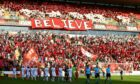 Aberdeen fans display a banner before the Europa League clash with HNK Rijeka in August 2019.