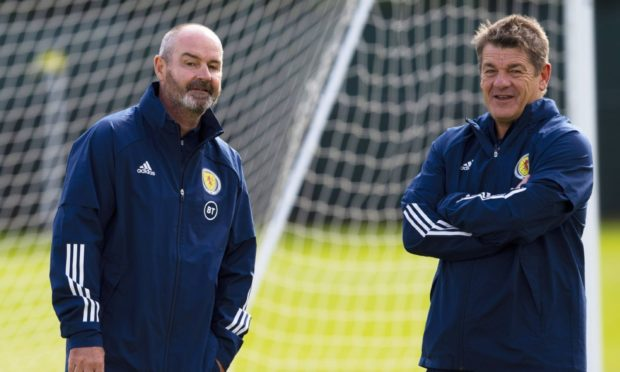 Scotland coach John Carver, right, with manager Steve Clarke
