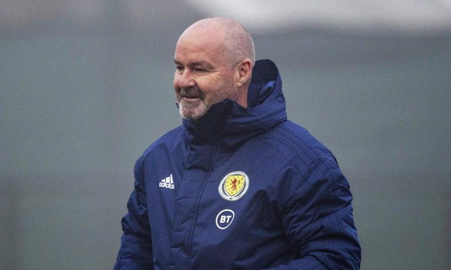 Scotland manager Steve Clarke in a blue Scotland jacket.