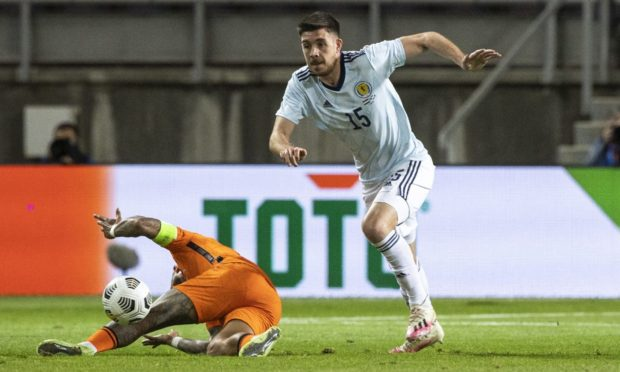 Scotland's Declan Gallagher in action during the 2-2 friendly draw with Netherlands.