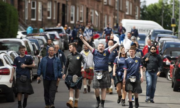 Scotland's supporters on their way to Hampden Park.