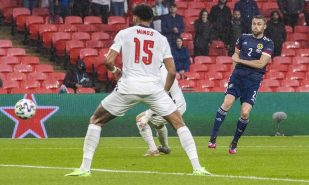 Scotland's Stephen O'Donnell goes close to breaking the deadlock at Wembley.