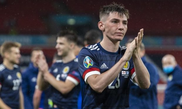 Billy Gilmour at full-time after the Euro 2020 match between England and Scotland at Wembley Stadium.