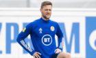 Liam Cooper training with Scotland.