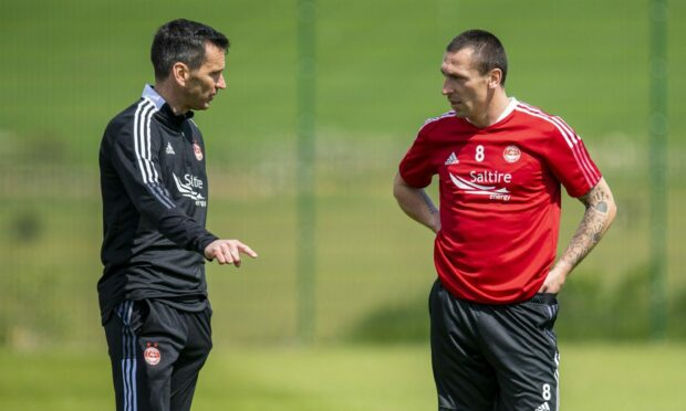 Aberdeen manager Stephen Glass with Player/Coach Scott Brown during a training session at Cormack Park