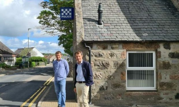 Andrew Bowie and David Threadgold at Portlethen Police station.