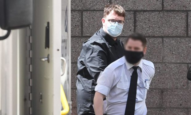 Callum Scott is led from Aberdeen Sheriff Court to begin his prison sentence