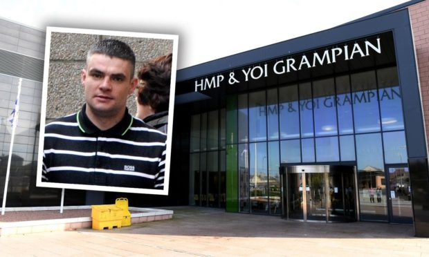 Dale Davidson caused disruption and threatened officers at HMP Grampian.