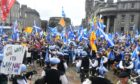 Pro-independence marchers at the Castlegate