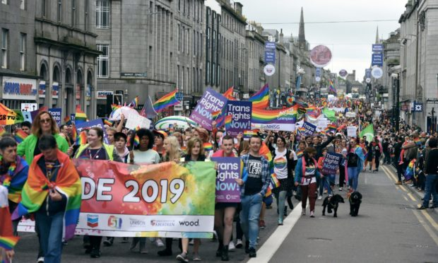 The Grampian Pride event on Union Street in 2019.