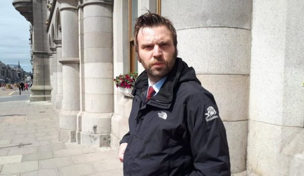 Gary Hindley leaving Aberdeen Sheriff Court.