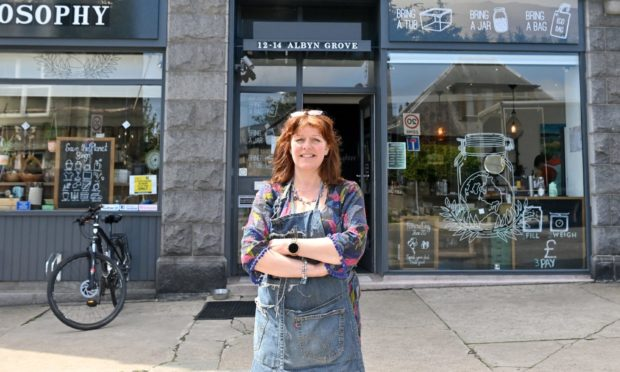 """""""Refillosophy is the antithesis of the supermarket,"""" says Gina Adie, owner of Aberdeen based sustainability store Refillosophy."""