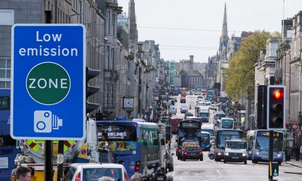 A designer's impression of what Aberdeen City Centre's planned low emission zone signs could look like.