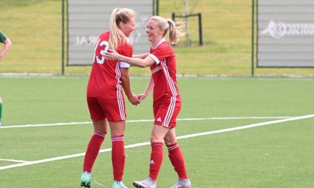 Aberdeen's Francesca Ogilvie, left, and Loren Campbell celebrating.