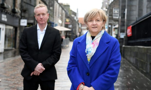 Aberdeen Inspired chief executive Adrian Watson with city council leader Jenny Laing.