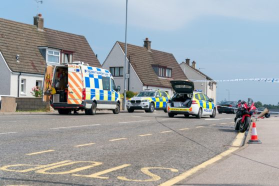 Police at the scene of the motorbike crash in Thornhill Road, Elgin.