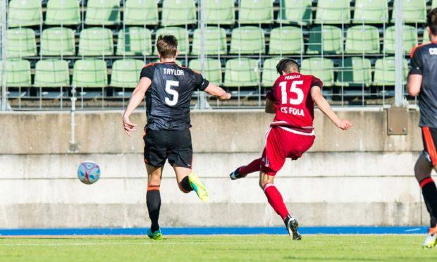 CS Fola Esch's Hadji Samir (15) scores against Aberdeen in Luxembourg in July 2016.