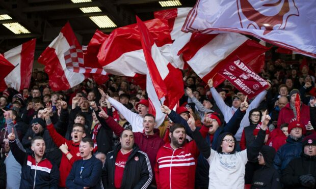 Aberdeen fans pictured at Pittodrie for the Scottish Cup against Kilmarnock on February 8, 2020