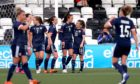 Scotland's Caroline Weir (centre) celebrates with her team-mates after scoring her side's winner against Wales.