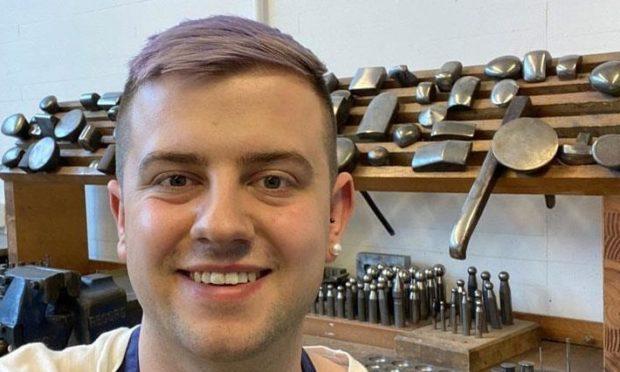 Award-winning Portsoy designer-maker, Scott Smith, in the silversmithing workshop at The Glasgow School of Art