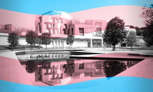 A blue and pink graphic of the Scottish Parliament building