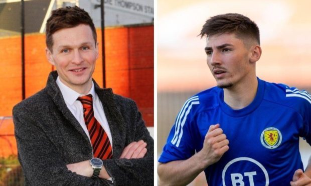 Dundee United academy chief Andy Goldie and Scotland midfielder Billy Gilmour.