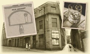 The Farquhar and Gill building on St Paul Street, Aberdeen, and, inset, an illustration of the chamber from 1912 and whisky.