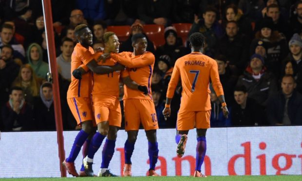 Netherlands' Memphis Depay celebrates scoring to put Netherlands Dutch 1-0 ahead at Pittodrie.