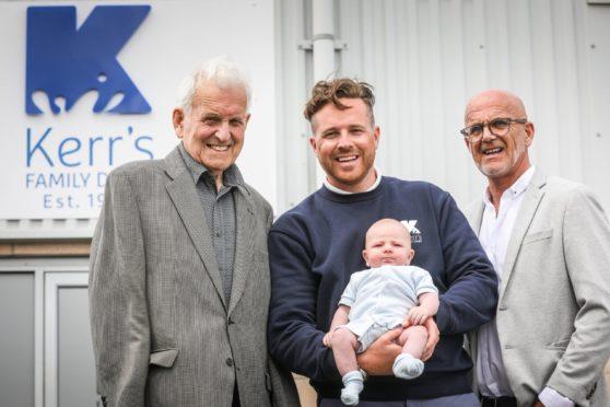 Four generations of the Kerr family. From left, John Alexander Kerr, John Kelvin Kerr Jnr holding his baby 10-week-old Kelvin John Kerr, and John Kelvin Kerr Snr.