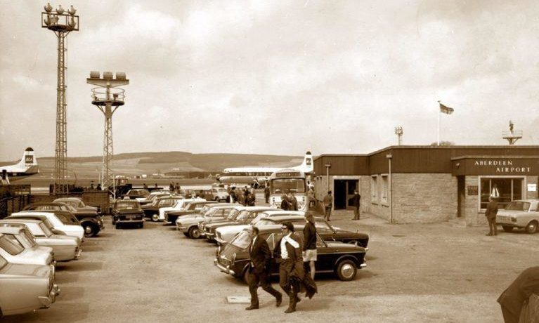 The old passenger terminal at Aberdeen Airport in 1973 looks very different from today with direct access to the airfield.