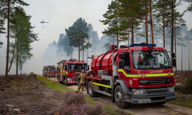 Fire crews tackle a wildfire at Culbin Forest, near Findhorn, in September 2020.
