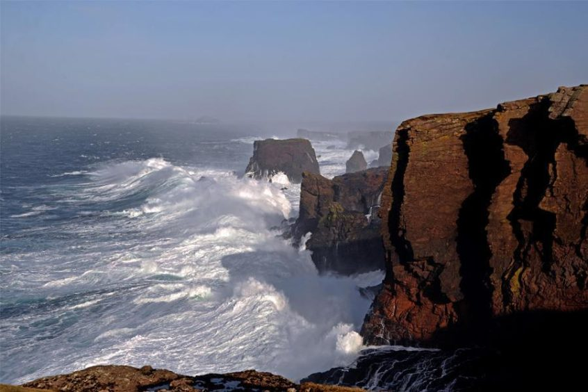 The red volcanic cliffs of Eshaness, Shetland.