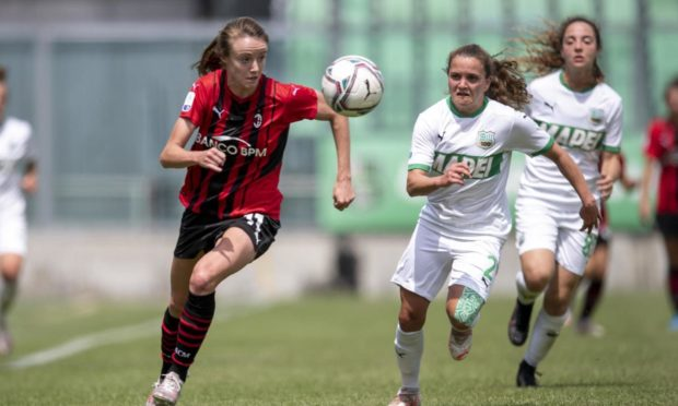 Christy Grimshaw in action for AC Milan against Sassuolo Women at Enzo Ricci Stadium in Sassuolo, Italy, in May.