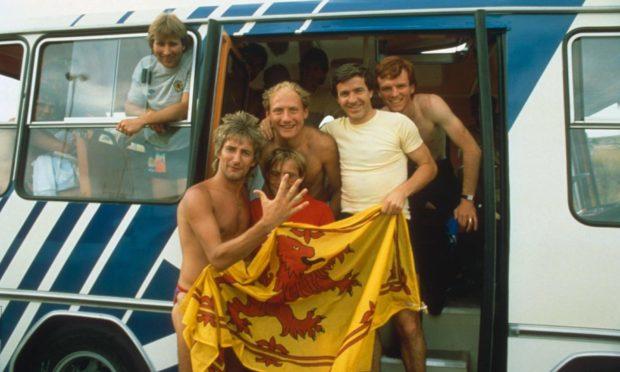 Rod Stewart alongside Scotland stars Alan Rough, John Robertson, Alan Brazil and Alex McLeish at the 1982 World Cup.