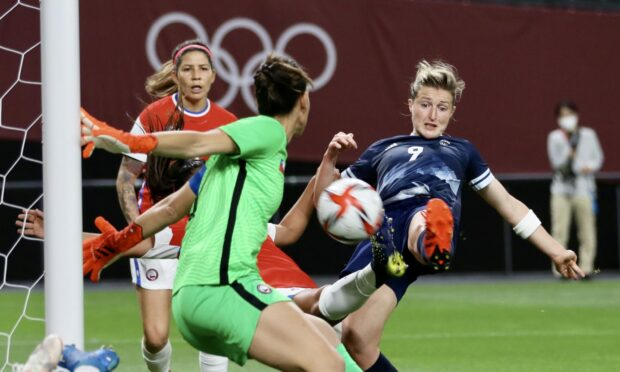 Ellen White scores her first for Great Britain against Chile.