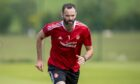 Joe Lewis during an Aberdeen training session at Cormack Park