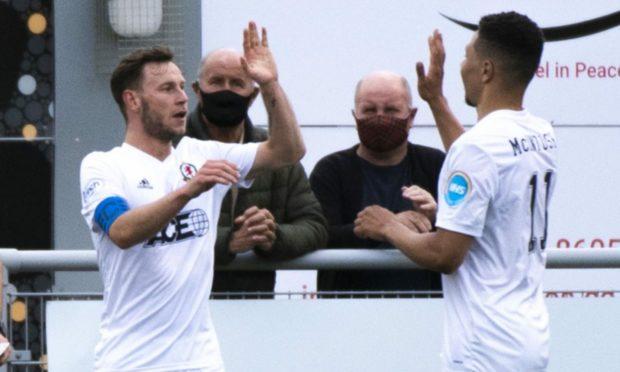 Cove Rangers goalscorers Mitch Megginson (left) and Leighton McIntosh celebrate scoring against Caley Thistle.