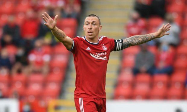 Aberdeen team captain Scott Brown leads the way against BK Hacken.