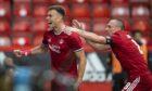 Aberdeen's Andrew Considine (left) celebrates his opening goal against BK Hacken.