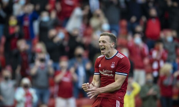 Aberdeen's Lewis Ferguson celebrates his second goal during a Europa Conference Qualifier between Aberdeen and BK Hacken at Pittodrie.