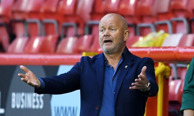 BK Hacken manager Per-Mathias Hogmo during the 5-1 loss to Aberdeen.