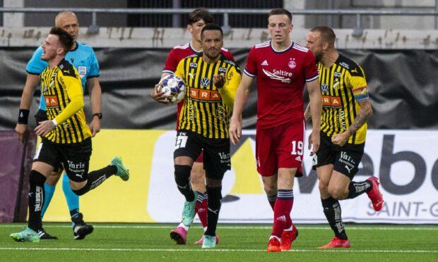 Martin Olsson celebrates after scoring to make it 1-0 Hacken.