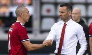 Aberdeen manager Stephen Glass and captain Scott Brown at full time