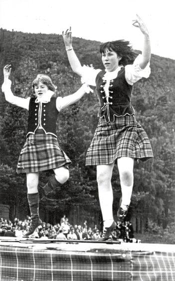 1972 - Elizabeth Davidson, right, dancing with Anneliese Stellmach, at Ballater Games