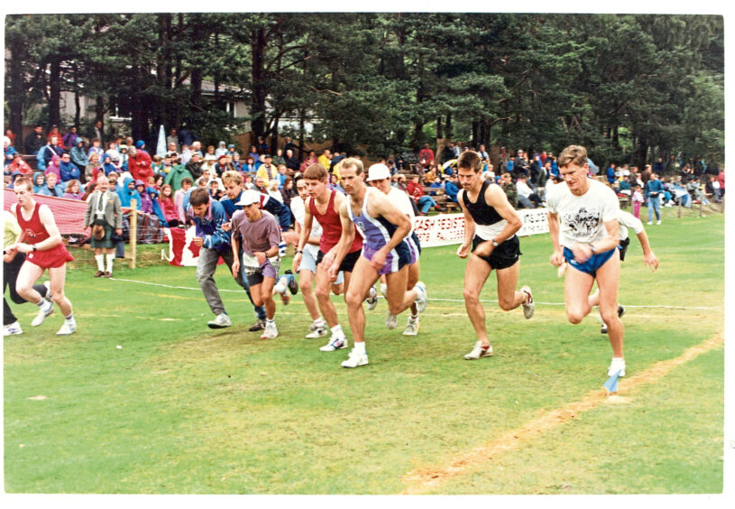 1992 - Competitors in one of the races at Ballater Highland Games in August 1992