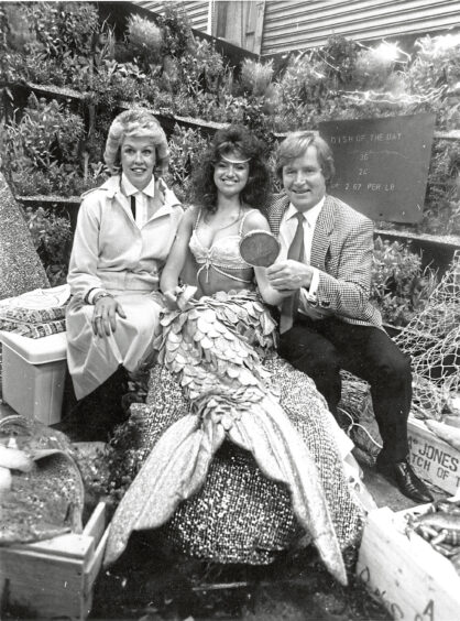 1986 - Mermaid Donna with Coronation Street star Bill  Roache, who plays Ken Barlow, and wife Sara, who  officially opened the festival