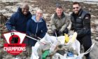 (L to R) Jacob Opata, Martin O'Donnell, Paul Williams and Lee Gilmour from Premier Oil filling a rubbish collection bag.